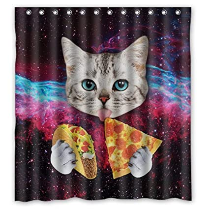 Custom Space Nebula Universe Cat Eat Pizza Shower Curtain Stylish Waterproof Polyester Fabric Bathroom Deco 66quot