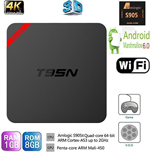 HONGYU Latest Version T95N Mini MX+ Android TV BOX 1G/ 8G Amlogic S905x Quad-core cortex-A53 Android 6.0 Support 2.4GHZ Wifi Streaming Media Player