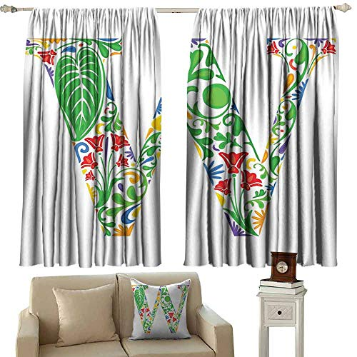 DUCKIL Heat Insulation Curtain Letter W Nature and Language Theme Letter W with Fresh Lively Jungle Vegetation Ornaments Blackout Draperies for Bedroom Window W55 xL45 Multicolor