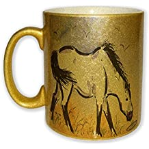 Marsh Tacky Pony in Purple Mustang Wild Horse Art by Denise Every - Gold Sparkle Coffee Mug with Round Rubber Drink Coaster