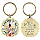 Light of the World Lighthouse John 8:12 Antique Brass Christian Key Ring Keychain