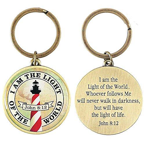 (Light of the World Lighthouse John 8:12 Antique Brass Christian Key Ring Keychain)