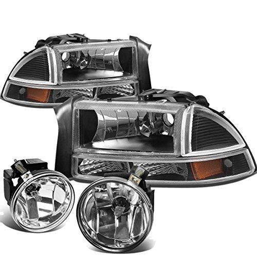 Dodge Dakota Headlight Corner Park (Dodge Dakota / Durango 4pcs Black Housing Amber Corner Headlights + Clear Lens Fog Lights)