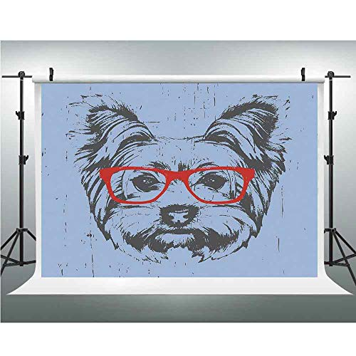 Seamless Vinyl Photo Backdrop,Yorkie,Photography Background Red Wood Backdrop,5x7ft,Yorkshire Terrier Portrait Red Nerd Glasses Tainted Backdrop Animal ()