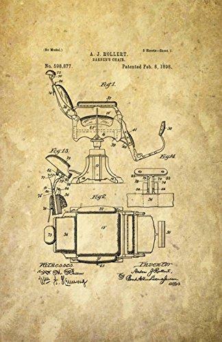 Póster con diseño de patente enmarcada del original listo para enmarcar. Decoración de la barbería. Salón de peluquería...