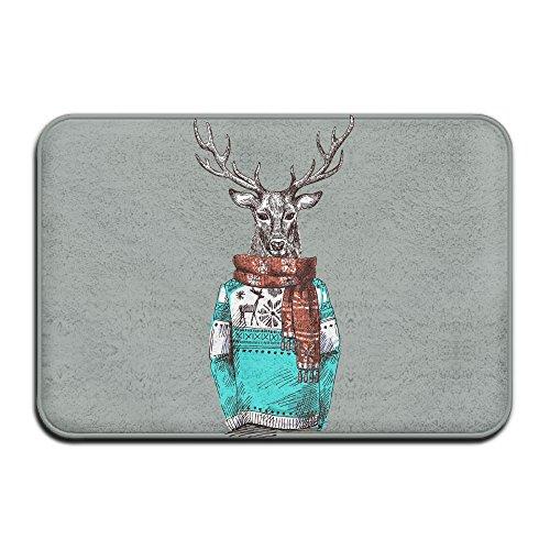 Baerg Door Mat Cool Deer Wear Scarf Non-Slip Stain Fade Resistant Soft Living Dining Room Rug for Front Door Entrance Outside Doormat 23.615.70.39Inch -