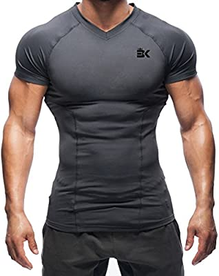 Mens Compression T-Shirt Short Sleeve Gym Base Layer Top Sport Fitness Tight fit