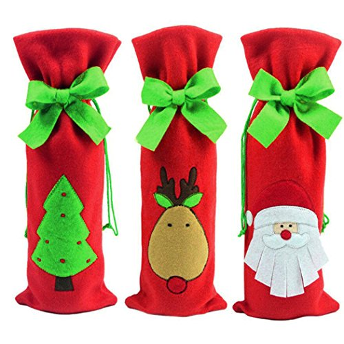 Coxeer 3Pcs Wedding Wine Bottle Cover Set Christmas Gift Bags Santa Reindeer Christmas Tree Wine Bag