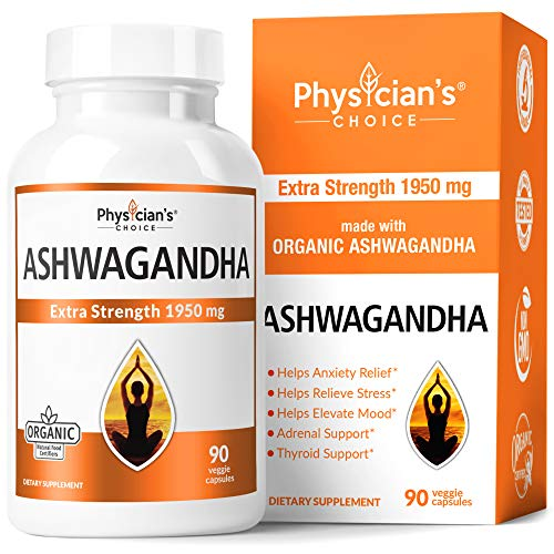 Ashwagandha 1950mg Organic Ashwagandha Root Powder with Black Pepper Extract, Anxiety Relief, Mood & Thyroid Support, 90…