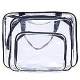 UTENEW 3Pcs Clear Travel Toiletry Bag Set with Zipper, PVC Cosmetic Makeup Cases Organizer Kits, Black
