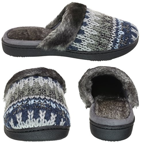 ISOTONER Womens Lurex Cable Knit Fairisle Knit Erin Clog Light Grey Heather Fairisle Jmrh20tE