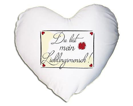 Satén oficial Cojín en forma de corazón - Du Bist Mi persona ...