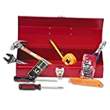 Great Neck CTB9 16-Piece Light-Duty Office Tool Kit, Metal Box, Red
