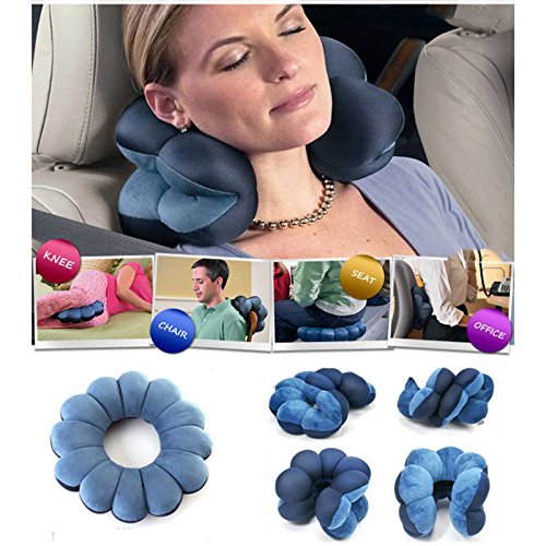 Amazzang New Inflatable Flight Pillow Neck U Rest Air Cushion  Eye Mask   Earplug
