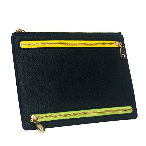Ticket Travel Wallet & Money Clip,Volin Crik Black PU Leather Multi Zip Pockets Wallet Traveling Accessories ()