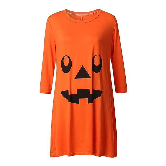 Lenfesh Orange Womens Creative Pregnant Nursing Nightgown Embarazo Halloween Little Devil Print Vestido de Manga Larga Ropa