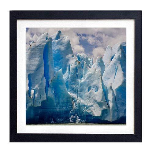 (GLITZFAS PRINTS Framed Wall Art- Iceberg Shore ice floes- Art Print Black Wood Framed Wall Art Picture for Home Decoration - 16