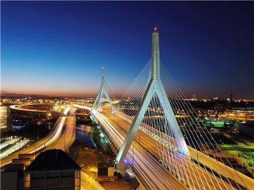 Home Comforts Peel-n-Stick Poster of Zakim Bunker Hill Memorial Bridge Boston Mass Vivid Imagery Poster 24 x 16 Adhesive Sticker Poster Print