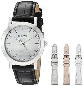 Bulova Women's Leather Watch With Interchangable Straps