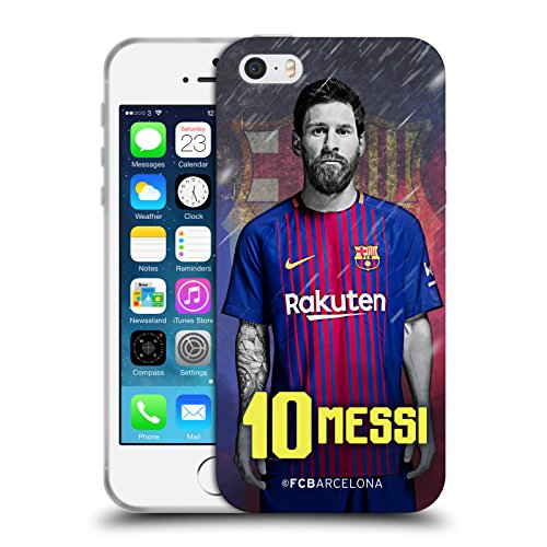 Official FC Barcelona Lionel Messi 2017/18 First Team Group 1 Soft Gel Case for Apple iPhone 5 iPhone 5s iPhone SE