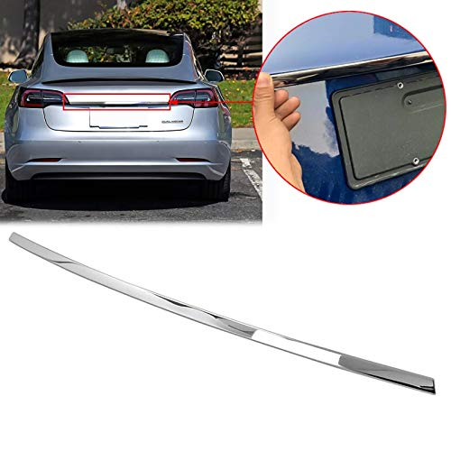 Xotic Tech Stainless Steel Rear Trunk Lid Moulding Cover Trim Guard for Tesla Model 3 2018 2019