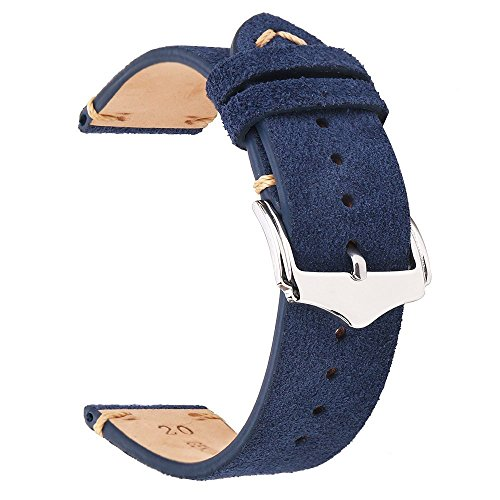 EACHE Suede Leather Watch Band Replacement Straps 20mm Dark Blue