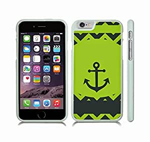 Case Cover For HTC One M9 with Chevron Pattern Lime Green/ Dark Teal Green StripeS w/ Dark Teal Green Anchor Snap-on Cover, Hard Carrying Case (White)