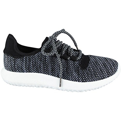 Loud Look Ladies Running Trainers Womens Fitness Gym Light Sports Comfy Lace up Shoes Size 3-8 Black o2kq0ET9