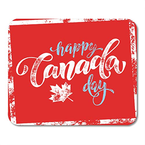 Desk Country Maple (Emvency Mouse Pads Celebration Happy Canada Day Flag Lettering Maple Leaf on Red 1St Canadian Mouse pad 9.5