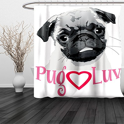 HAIXIA Shower Curtain Pug Pug Love Image Cute Grey Toned Drawing of a Dog Pet Animal Fun Bonding Print Grey Dark (Raining Hearts Rhinestones)