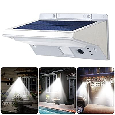 Stainless Steel Solar Lights, Scheam Waterproof Outdoor Motion Sensor Light 21LED for Patio, Deck, Yard, Garden with 3 Modes Motion Activated Auto On/Off