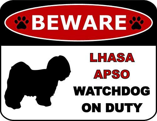 - Top Shelf Novelties Beware Lhasa Apso Watchdog On Duty (Silhouette) Laminated Dog Sign (Includes Bonus I Love My Dog Decal) SP1329