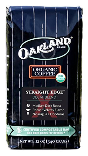 Oakland Coffee Works,Organic,Straight Edge Decaf Blend, Certified Compostable Bag, 12 Ounce, Whole Bean