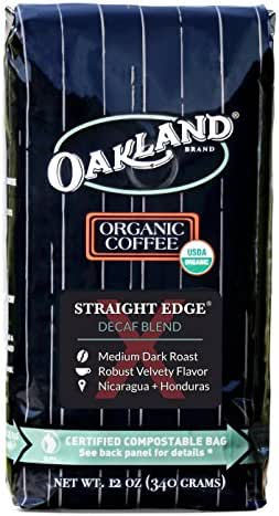 Oakland Coffee Works, Organic, Straight Edge Decaf Blend, Certified Compostable Bag, 12 Ounce, Whole Bean
