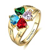 JewelOra Personalized Promise Mother Rings with 4 Simulated Birthstones Anniversary Name Rings For Mother's Day (Gold, 10)