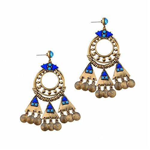 ptk12 Vintage Retro Style Coin Tassels Dangle Earring Beach Bohemian Ethnic Jewelry Belly Dance Accessory Charm Earrings by ptk12 (Image #4)
