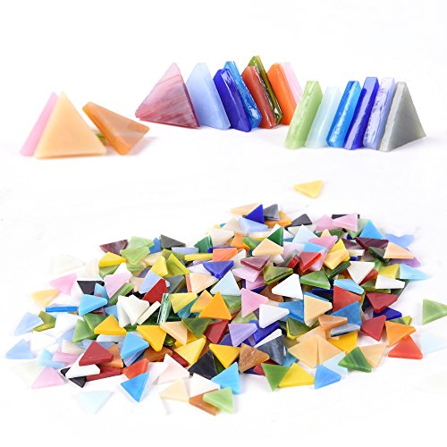 ass Tile Mixed Color Stained Glass Triangle Mosaic Tiles Pieces Crafts DIY Projects for Home Decoration Art Supplies qianshan, 14mm / 0.55inches (Non-Transparent) (Orange Stained Glass Mosaic Tile)