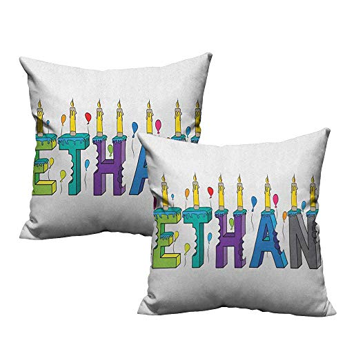 Price comparison product image RuppertTextile Couple Pillowcase Ethan Celebration Themed Candles and Bitten Cake Popular Male Name Birthday Party Image Anti-Fading W20 xL20 2 pcs