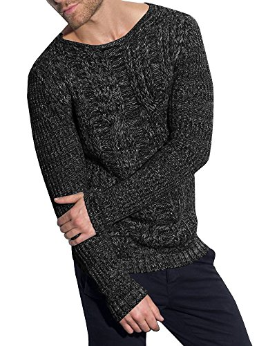 - Mens Pullover Sweaters Knit Cable Crew Neck Lightweight Slim Fit Long Sleeve Plain Vintage Casual Coat