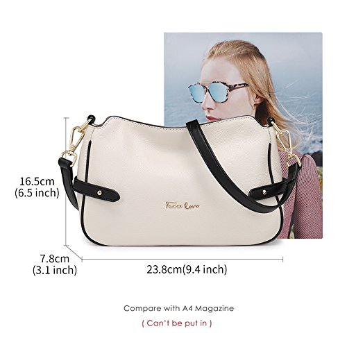 FOXER Leather Women Genuine Crossbody Shoulder White Purse Crossbody Bag Small rArqZwx
