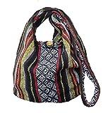 BTP! Thai Cotton Sling Bag Purse Crossbody Messenger Hippie Hobo Hand Woven Ikat (Multicolored A104)