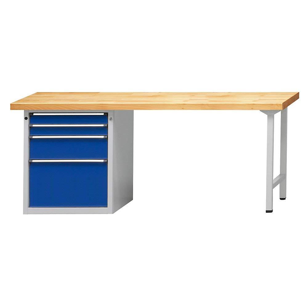 Werkbank, robust, 4 Schubladen mit 2 x 90, 1 x 180, 1 x 360 mm, massive Buche Arbeitsplatte Breite 2000 mm