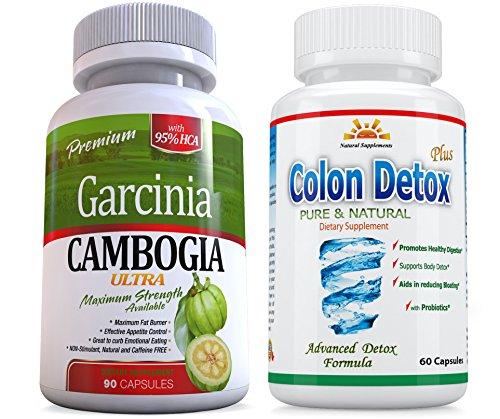 95% HCA 120 Caps Veg. Caps 2 Garcinia Cambogia ULTRA plus FREE Colon Detox, 2 Months Supply, Weight Loss, Fat Burner, Diet Pills, Carb Blocker, Appetite Control, Natural Diet Pills, SAME DAY SHIPPING ()