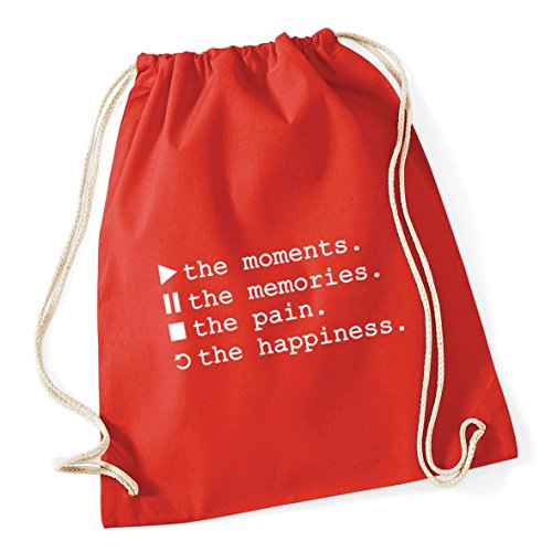 Happiness The Pause Drawstring litres Kid Bag Cotton Sack 12 Red 46cm School Pain 37cm The HippoWarehouse Control x Gym Stop Moments The Replay Memories Play Bright Symbols The P6fxtvwq