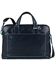 Piquadro Double Handle Computer Briefcase, Dark Blue, One Size