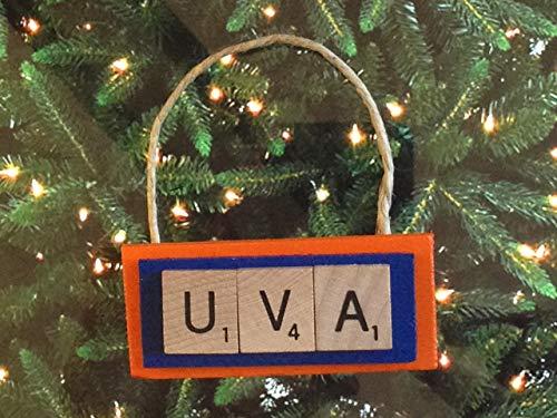 Wood Virginia University - UVA University of Virginia Cavaliers Cavs Christmas Ornament Scrabble Tiles