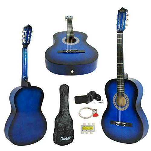 ZENY Beginners 38'' Acoustic Guitar Package Kit for Right-handed Starters Kids Music Lovers w/ Case, Strap, Tuner, and Pick (Blue) - Image 8