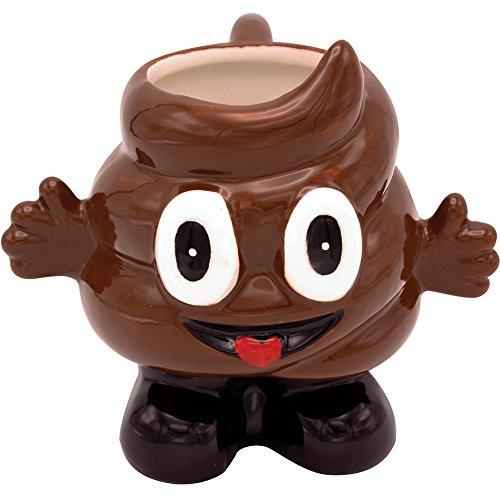 Cheerful Funny Poop Emoji Mug 16oz - Glazed Ceramic - No More Crappy (Tongue Swirl Emoji)