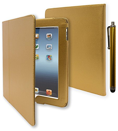 iPad 1 Case, Bastex Folio Synthetic Leather Case Cover with Built-in Stand for Apple iPad 1 1st Generation - Gold [Includes Stylus]
