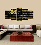 PEACOCK JEWELS [Medium] Premium Quality Canvas Printed Wall Art Poster 5 Pieces/5 Pannel Wall Decor Michigan Wolverines logo Painting, Home Decor Football Sport Pictures